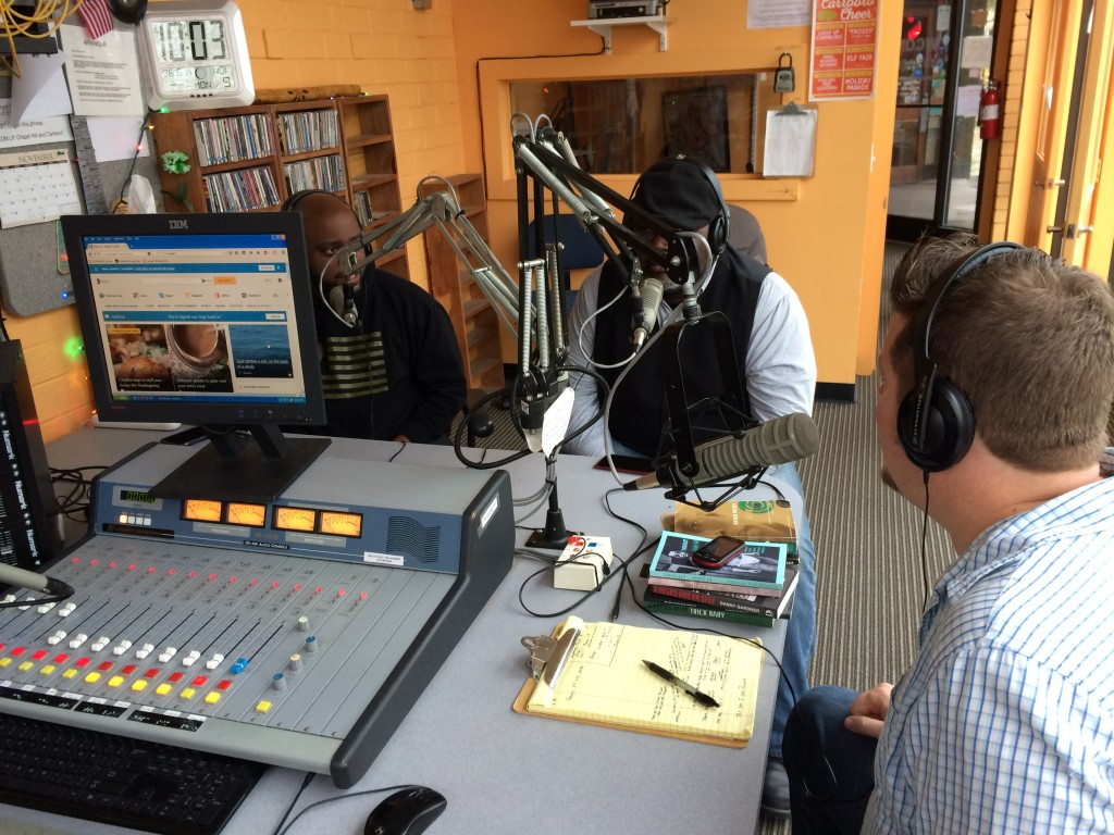 In studio, left to right: Howard Craft, S.A. Cosby, and Eryk Pruitt
