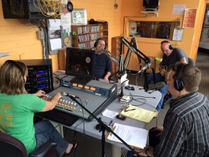 Host Eryk Pruitt chats with David Terrenoire (left) and Mel Melton (center)