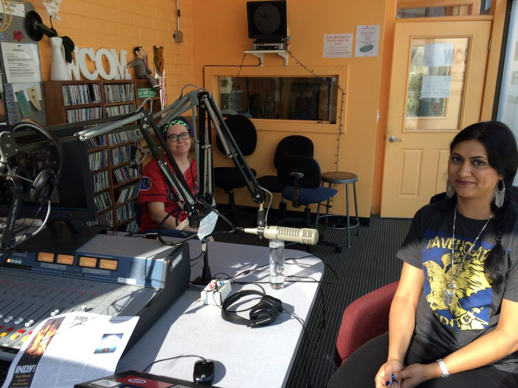 In studio at WCOM: co-host Mur Lafferty (left) and guest author Sabaa Tahir (right).